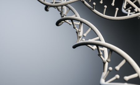 DNA molecule structure, Futuristic Sci-Fi interface at abstract background. 3d rendering
