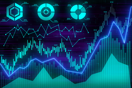 global business concept with abstract illuminated financial charts on digital blue background. 3d rendering Stock Photo