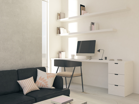 modern light hipster room with white furniture, concrete wall, computer and floor-to-ceiling window. 3d rendering