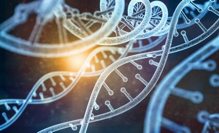 modelo de ADN humano (modelo 3d) en abstracto oscuro con fondo claro. Representación 3d