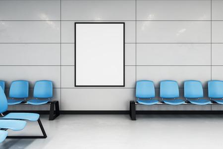 maqueta de póster blanco en la pared de la moderna sala de espera con sillas de alineación azules. Representación 3d