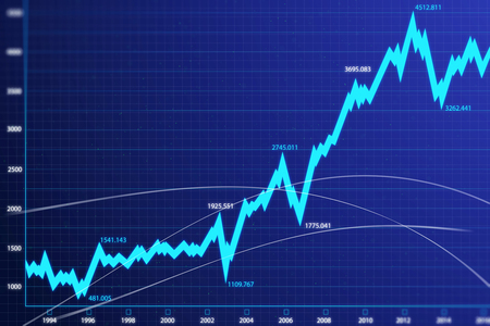 abstract financial chart with blue uptrend line graph and numbers in stock market. 3d rendering