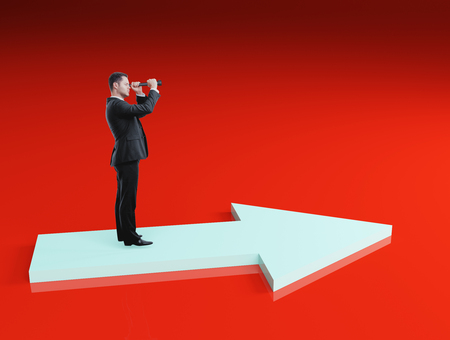 Businessman looking into binoculars on red background. Career and research concept