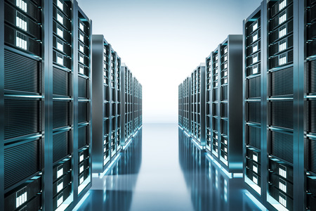 Abstract shiny server room wallpaper. Technology and software concept. 3D Rendering