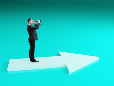 Businessman looking into binoculars on blue background. Success and research concept