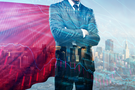 Businessman with red hero cape standing on abstract city background with forex chart. Leadership and analytics concept. Double exposure