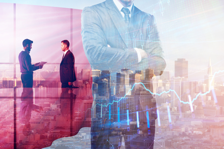 Businessman with red hero cape standing on abstract city background with forex chart. Leadership and stock concept. Double exposure