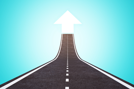 Abstract road with arrow on blue background. Success and direction concept. 3D Rendering Stock Photo