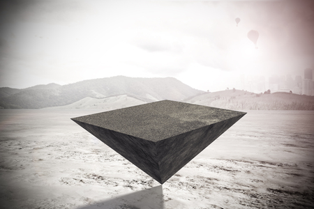 Abstract pyramid on outdoor background. Balancing concept. 3D Rendering