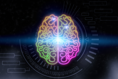 Creative digital glowing brain on blurry background. AI and science concept. 3D Rendering
