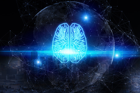 Creative digital glowing brain on blurry background. AI and future concept. 3D Rendering