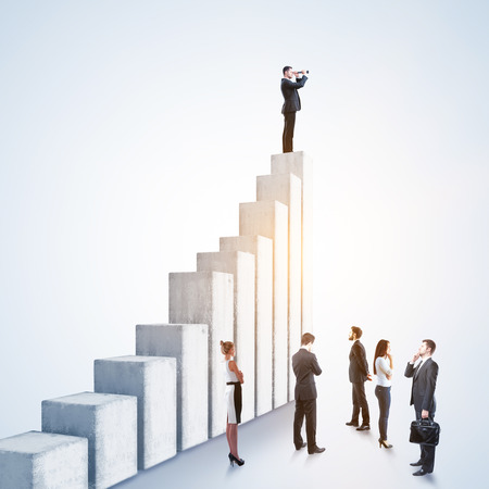 Businessman looking into the distance while standing on top of concrete ladder on gray background. Leadership, research and success concept. 3D Rendering 版權商用圖片