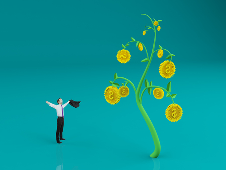 Businessman celebrating success on abstract blue background with creative dollar coin tree. Rich and wealth concept. 3D Rendering