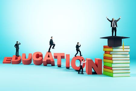 Heureux hommes d'affaires prospères sur fond d'éducation créative avec échelle, chapeau de graduation et livres. Concept de connaissances et de carrière. Rendu 3D
