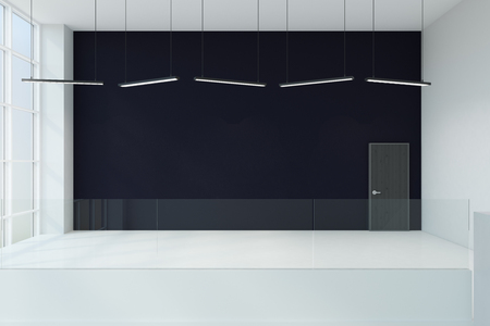 Bright interior with copy space on black wall and daylight. Mock up, 3D Rendering Stock Photo