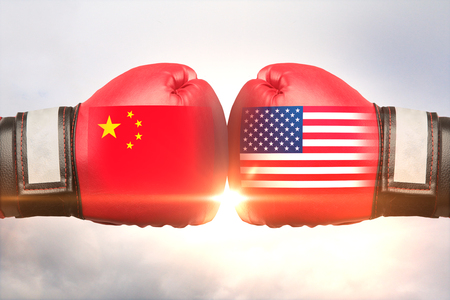 Red boxing gloves with country flags against each other on cloudy sky background. China vs Russia concept. 3D Rendering