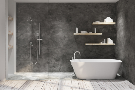 Dark bathroom interior with decorative objects. Style and design concept. 3D Rendering