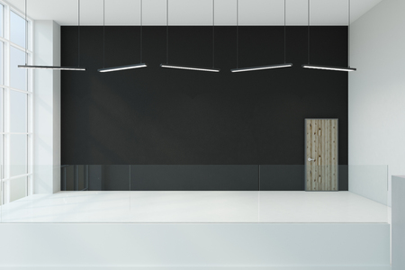 Modern interior with copy space on black wall and daylight. Mock up, 3D Rendering Stock Photo