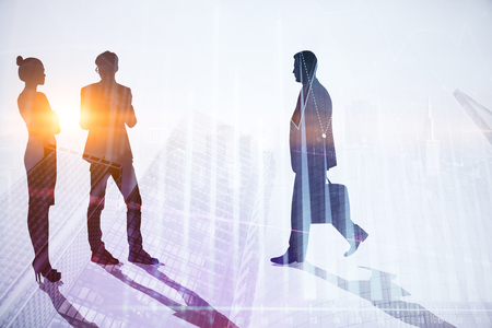 Teamwork, meeting and tomorrow concept. Businesspeople crowd silhouettes on light city office background. Double exposure Stock Photo
