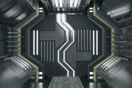 Abstract futuristic corridor interior. 3D Rendering 免版税图像
