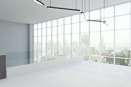 Modern concrete interior with panoramic city view, lamps and copy space. 3D Rendering