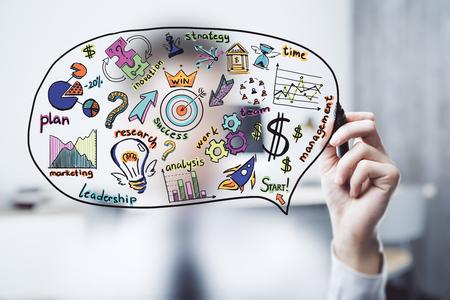 Business scheme concept, startup double exposure background. Reklamní fotografie