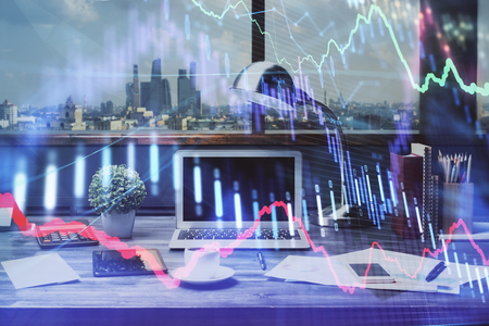 Double exposure of stock market chart and office desktop on background. financial strategy concept. Stok Fotoğraf - 121856204