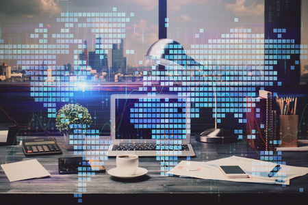 Double exposure of World map polygonal with work space background. Globalization concept.