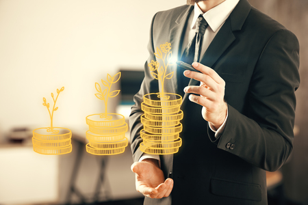 Double exposure with growth coins columns and man hand. Concept of success savings and capital.