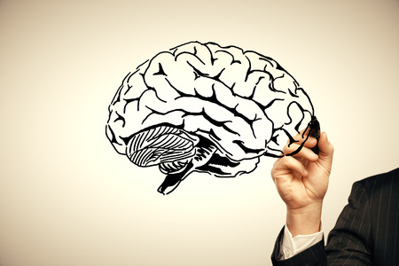 double exposure of human brain sketch and man hand. Brainstorming concept. 写真素材