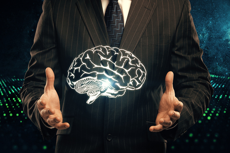 double exposure of human brain sketch and man hand. Brainstorming concept.