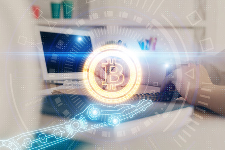 Cryptocurrency hologram over hands taking notes background. Concept of blockchain. Multi exposure Stockfoto