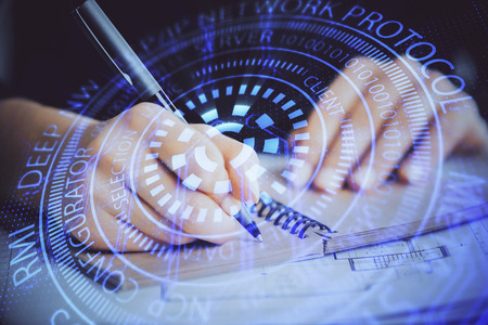 Double exposure of writing hands on background with data solution hologram on front. Technology concept. Close up