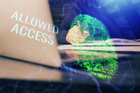Concept of the future of security and password control through advanced technology. Fingerprint scan provides safe access with biometrics identification. Multi exposure. Banco de Imagens - 123195143