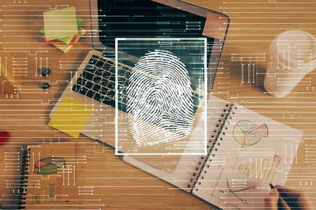 Concept of the future of security and password control through advanced technology. Fingerprint scan provides safe access with biometrics identification. Multi exposure. Banco de Imagens - 123195142