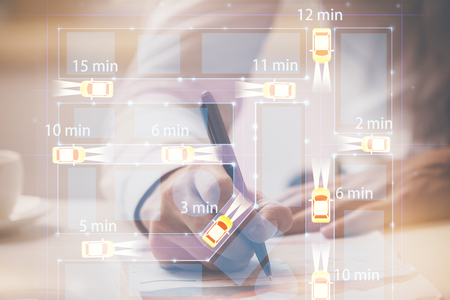 Close up of human hands background and autonomous self drive pilot vehicle concept. Multi exposure. Imagens - 123195148