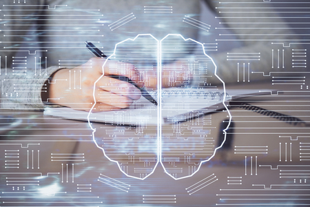 Double exposure of womans writing hand on background with brain hud. Concept of learning. Banco de Imagens - 123192446