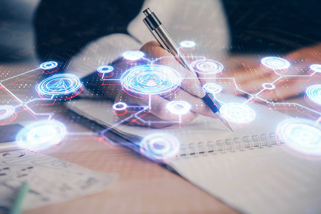 Social network theme hologram over hands taking notes background. Concept of global international people connect. Double exposure Banco de Imagens - 123192448