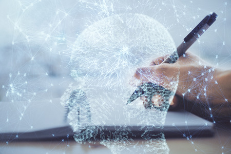 Double exposure of writing hand on background with brain hologram. Concept of learning. Stock fotó