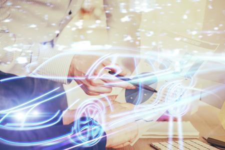 Close up of human hands background and autonomous self drive pilot vehicle concept. Multi exposure. Banco de Imagens - 123273076
