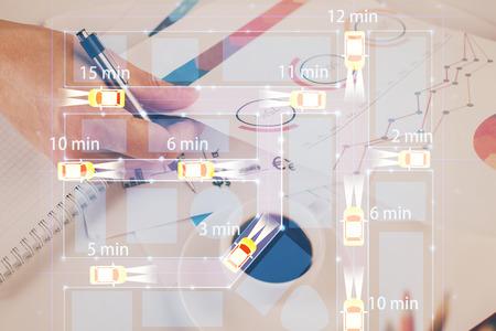 Close up of human hands background and autonomous self drive pilot vehicle concept. Multi exposure.