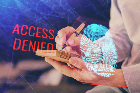 Concept of the future of security and password control through advanced technology. Fingerprint scan provides safe access with biometrics identification. Multi exposure. Foto de archivo