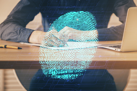 Concept of the future of security and password control through advanced technology. Banco de Imagens
