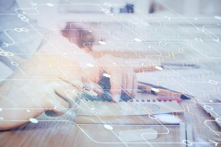 Writing human hands with data theme multi exposure icons. Zdjęcie Seryjne