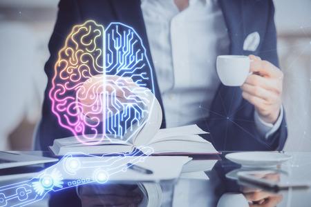 Brain multi exposure icon with man hands