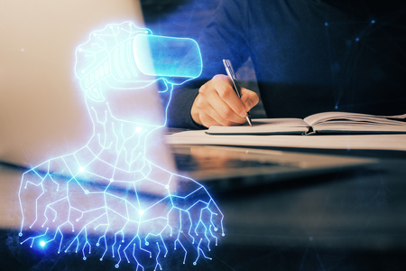 Abstract man wearing augmented reality headsets computer work with writing human