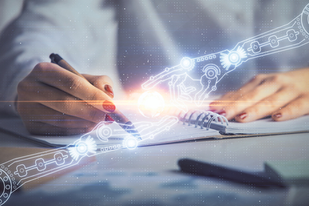 Multi exposure of womans writing hand on background with data technology hologram. Concept of innovation. Фото со стока