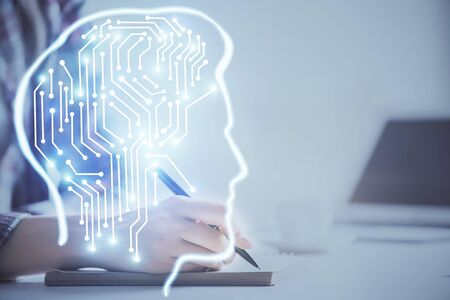 Multi exposure of womans writing hand on background with brain hud. Concept of learning. Stock Photo