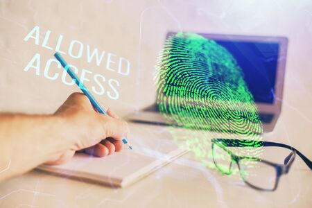 Fingerprint scan provides safe access with biometrics identification, concept of the future of security and password control through advanced technology. Double exposure. Фото со стока