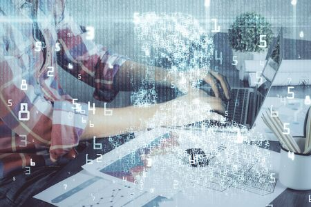 Double exposure of technology hologram with man working on computer background. Concept of big data.